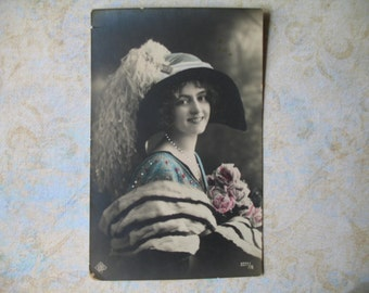 Hand Tinted Antique Vintage Edwardian Photo Postcard Woman in Large Hat and Fur