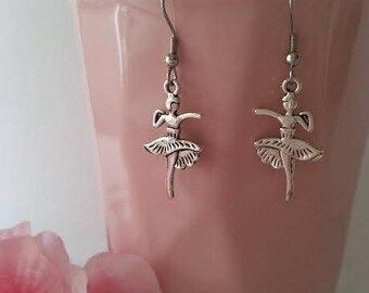 Ballet Earrings / Dancer Earrings / Daughter Earrings / Dance/ Silver Dangle Earrings