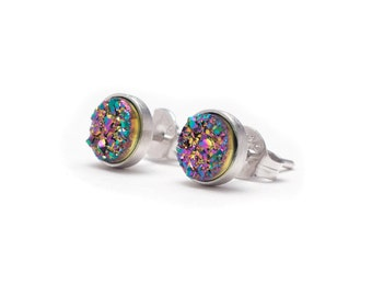 Peacock Druzy in Sterling Silver Stud Earrings - Druzy / Drusy Quartz Studs - Silver Stud Earrings - Round 6mm - Bezel Set