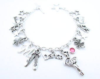 Dance Charm Bracelet, Dance Gifts, Dance Jewelry, Gift for Dancer, Ballet Bracelet, Ballet Slippers, I love Dance