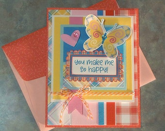 Handmade You Make Me So Happy Card with Coordinating Envelope - Fun Large Butterfly & Pretty Plaid Papers