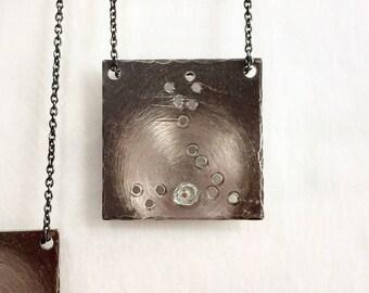 PISCES Necklace, Pisces Constellation Necklace, Zodiac Constellation Necklace, Hand Forged Sterling Silver, Constellation Pendant