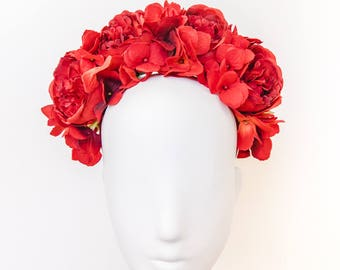 red statement flower crown // spring racing flower crown / spring races flower crown headband / flower fascinator bohemian