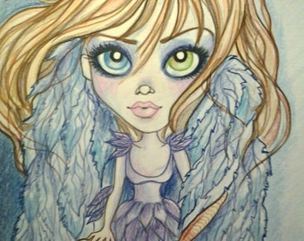 Blue Angel Big Eye Girl Fantasy Low Brow Pop Art Print by Leslie Mehl Art