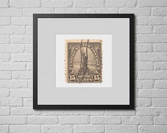 Postage Wall Art:  1920's Statue of Liberty Postage Stamp Print - Circulated Stamp