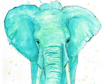 Neon Elephant Print