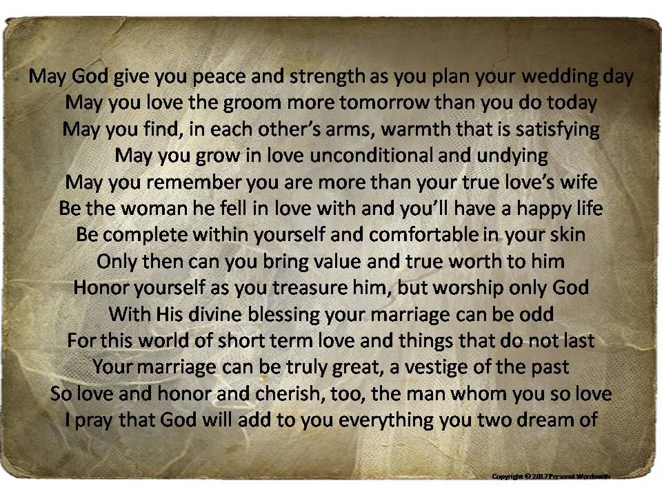 Bride To Be Prayer Print Engagement Party Speech Mother Of