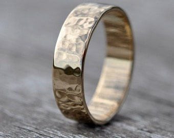18K Yellow Gold Hammered Texture Hand Forged 6mm Band or Ring, Sea Babe Jewelry