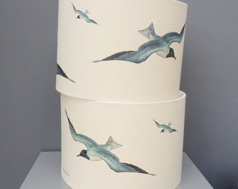 Seagulls - 40cm 45cm drum lampshade - coastal theme