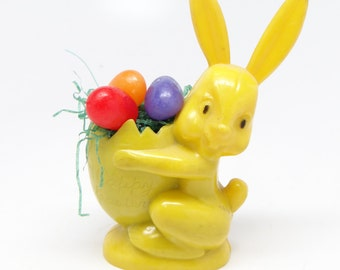 Vintage 1950's Rosbro Plastic Easter Rabbit Candy Container, Toy Bunny Holding Egg, Happy Easter