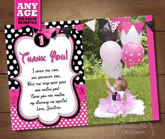 Minnie mouse thank you card with photo minnie thank you card minnie mouse thank you card with photo minnie thank you card note minnie mouse printable thank you matches birthday invitation pink bookmarktalkfo Choice Image