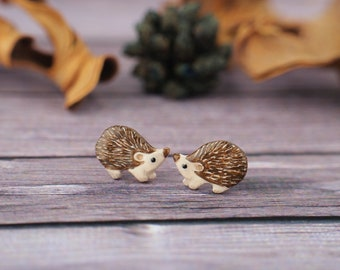 Hedgehog Stud Earrings Hedghogs Little Earrings Glossy Miniature Miniatures Animal Totem
