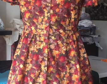Le Fall Leaf Print Dress With Collar and Buttons