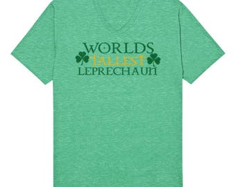 Worlds Tallest Leprechaun Funny Saint Patricks Day Drinking Beer Shamrock Clover Novelty Present Gift Idea Men's V-Neck T-shirt SF_0290