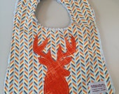Baby Boy's Bib in orange and grey modern print with...