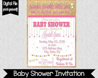 Twinkle Twinkle Little Star Baby Shower Invitation - Printable - Twinkle Twinkle - Baby Shower Invitation - Glittery - Stars - Pink - Gold