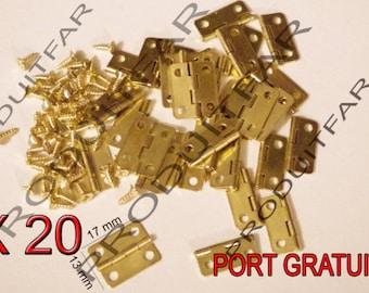 Set of 20 Mini gold hinged to box jewelry box chest 17 * 13 mm free matching screws