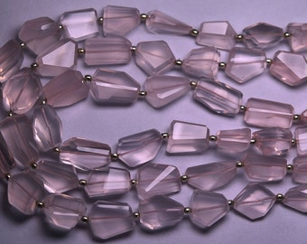 8 Inch Strand,Finest Quality, ROSE Quartz Micro Faceted Nuggets, 12-18mm Size,