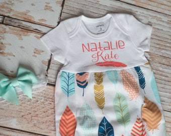 Personalized Feathers Gown and Burp Cloth for Home Coming Outfit