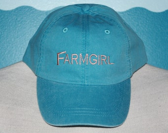 Embroidered Farmgirl Baseball hat - Embroidered baseball cap - Farmgirl baseball cap - Custom farmgirl gift - Farmer baseball hat