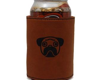 Pug Leather Can Sleeve, Beer Sleeve, Beer Cooler, Beer Hugger