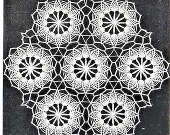 PDF Crochet Pattern, Large Pineapple Doily,Joined Motifs to make a Bedspread,Tablecloth, Scarf.