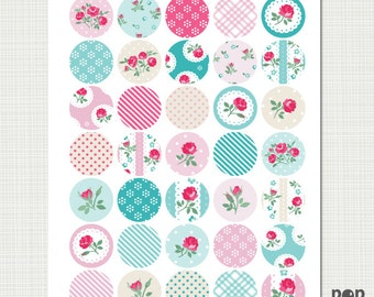 1.25 inch circle Shabby Chic Digital Collage Sheet - 35 one inch Circles, romantic vintage roses, bottle caps, pendants, magnets, botton