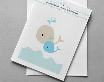 Whale New Baby Boy, New baby card, Whale