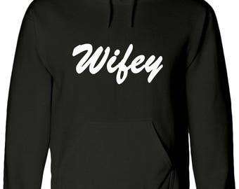 Hubby, Husband, Matching, Wifey, wife married, Couple, Jumper, Hoody, HOODIE