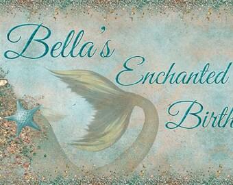 Mermaid Under the Sea Birthday Banner, Mermaid Pool Party, Mermaid Birthday Banner, Digital Mermaid Sea Pool Birthday Banner