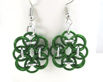 Green Helm Chainmaille Flower Earrings - Ready to Ship!
