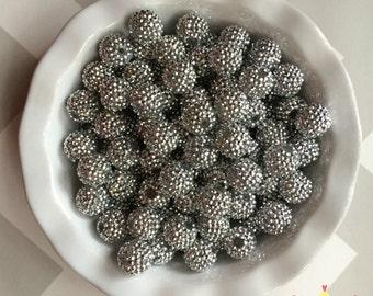 20mm Silver AB Rhinestones Chunky Bubble Gum Beads Set of 10