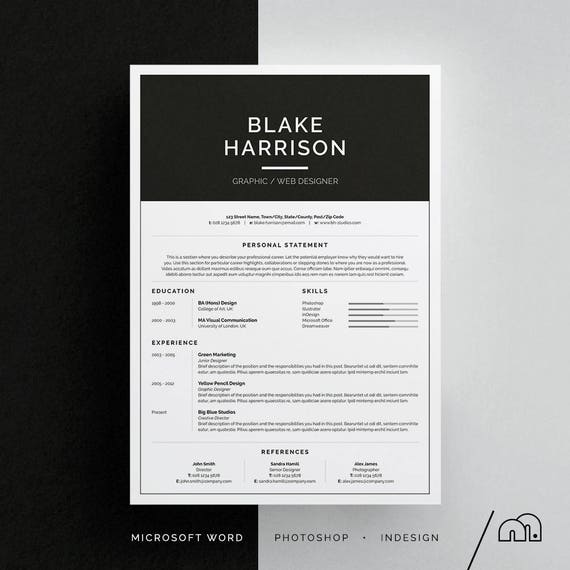 blake resume  cv template word photoshop indesign