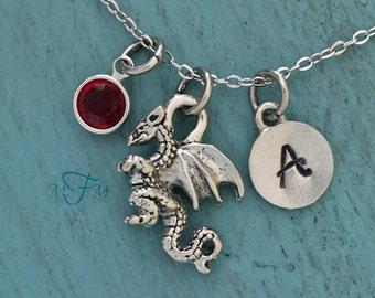 Dragon Charm Necklace, Personalized Necklace, Silver Pewter Dragon Charm,  Fantasy Jewelry Gamer Gift, Swarovski birthstone