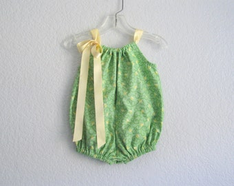 Baby Girls Green Floral Bubble Romper - Spring Green Sun Suit with Butter Yellow Tulips - Babies Summer Clothes - Size Nb, 3m, 6m, 9m or 12m