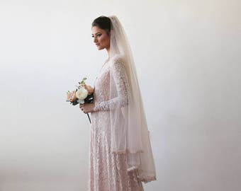 Blush Pink Veil mid length - Blush Tulle Veil With Lace Trim 1171
