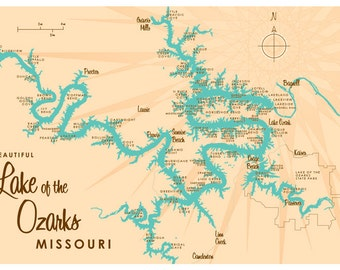 Lake of the Ozarks, MO Map Print