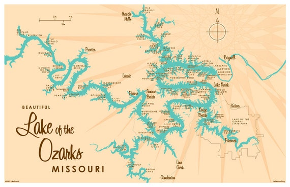 Lake of the Ozarks MO Map Print