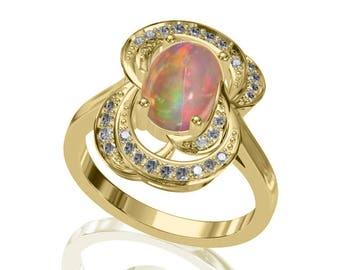 9x7mm Australian Black Opal Ring w/ 0.26ct Diamond in 14K or 18K Gold 1.76TCW Sku: R2408