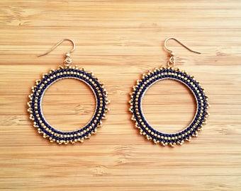 BO Inti night blue plate gold and glass Miyuki beads