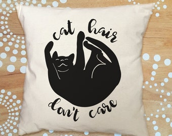 Cat Hair Don't Care Pillow Cover, Cat Pillow Cover, Funny Quote Cat Throw Pillow