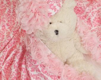 Baby Blanket Baby Girl Pink Damask Baby Blanket Receiving Blanket with Mtching Hat