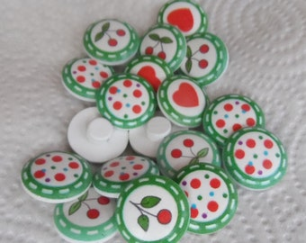 10 Wooden buttons Round Hearts Cherries Pois 20mm with attachment ring