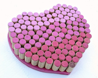 Wine Cork Heart for your Wedding Decor - Ombré Pinks, Lavenders and Reds