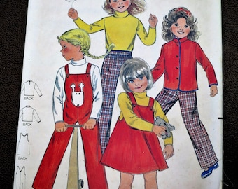 1960s Girls Jumper, Overalls, Jacket & Pants Sewing Pattern - Size 5 - Butterick