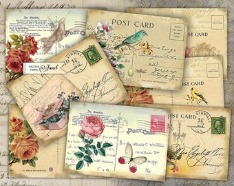 Old Post Card - digital collage sheet - set of 8 - Printable Download