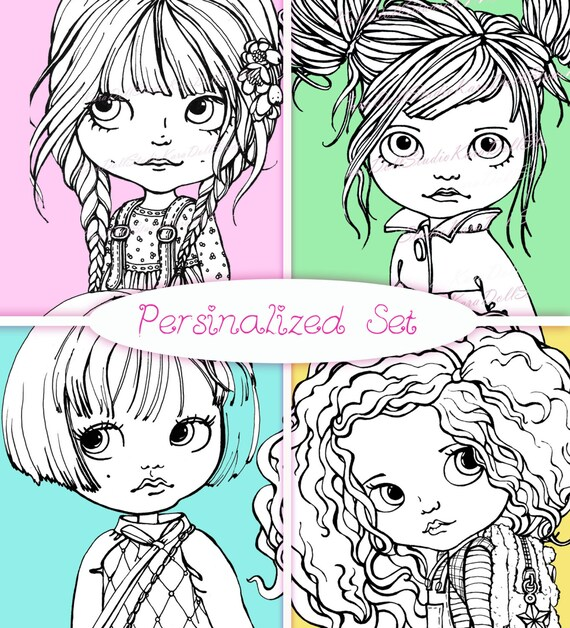 CONJUNTO PERSONALIZADO 4 dibujos muñecas de Blythe a la