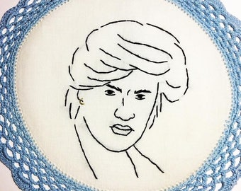 George Michael - hand embroidered vintage doily, white, light blue, lace, crochet edge