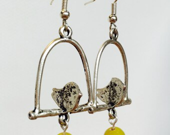 Bird-on-a-perch earrings - various colours