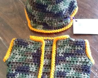Hunter Camo Baby Vest & Hat